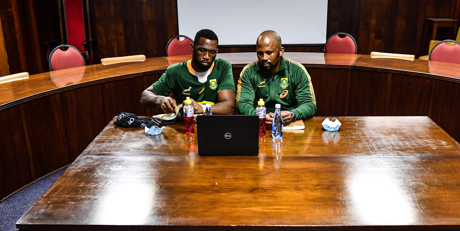 Siya Kolisi (left) and Mzwandile Stick's virtual media conference after the Castle Lager Springbok Showdown.