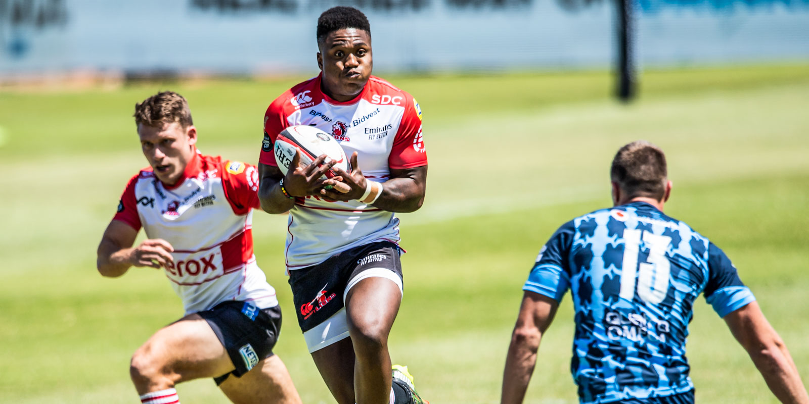 Wandisile Simelane on attack for the Xerox Lions