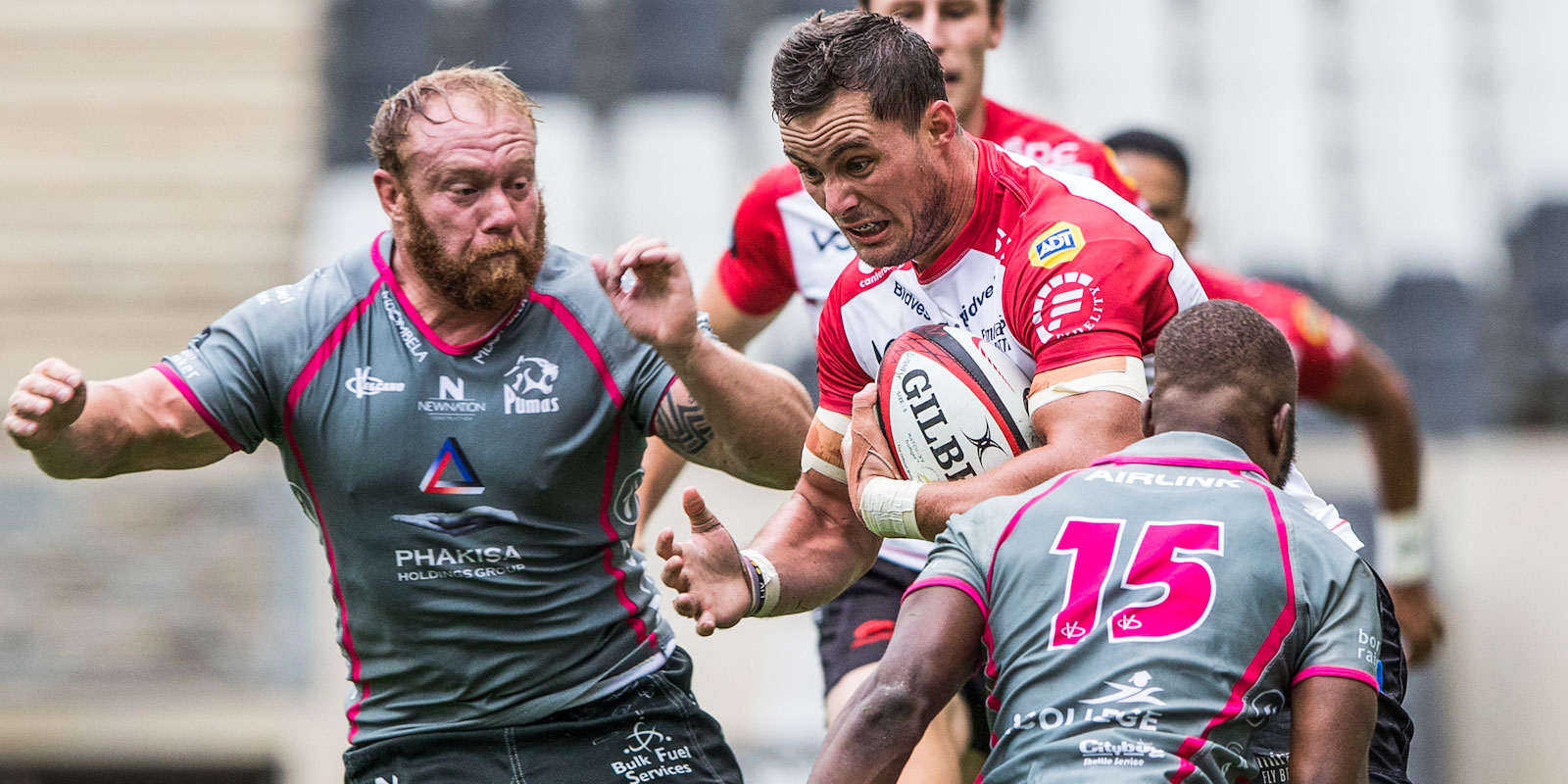 Dan Kriel on the charge for the Xerox Lions