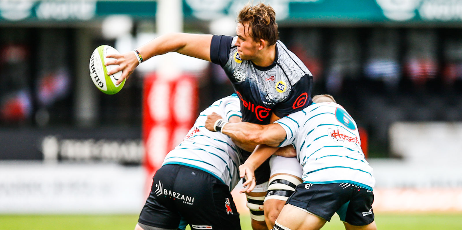 JJ van der Mescht gets the ball away for the Cell C Sharks in their match against Tafel Lager Griquas.
